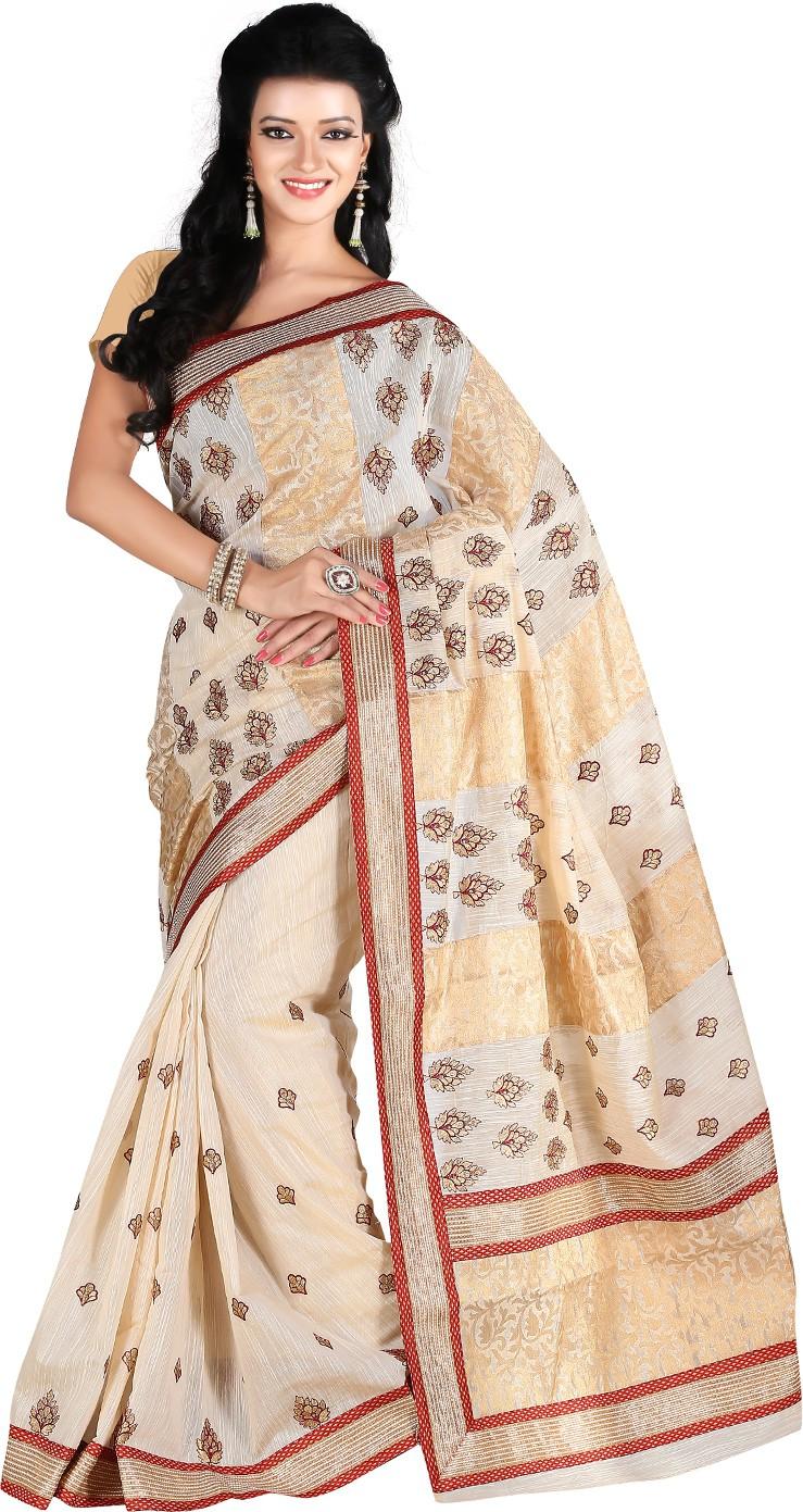 Roopkala Silks Woven Banarasi Banarasi Silk Saree(Beige)