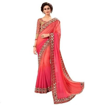 Om Shantam Sarees Plain, Self Design Bollywood Pure Georgette Sari