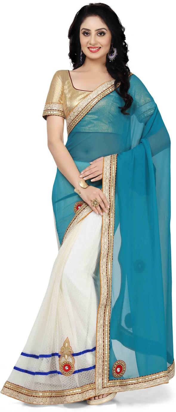 Saree Swarg Embellished Bollywood Net Saree(Multicolor)