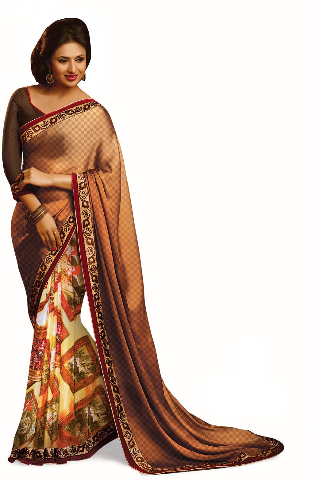 Indianbeauty Self Design, Printed Bollywood Pure Georgette Saree(Brown)