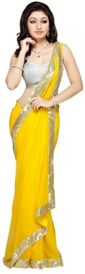 Giftsnfriends Solid Bollywood Chiffon Sari
