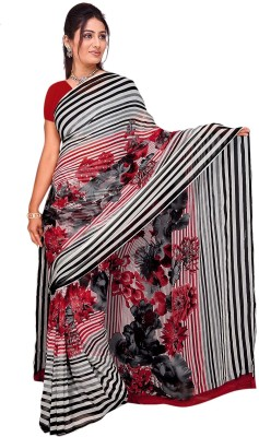 Trendz Printed Bollywood Georgette Sari(White, Red)