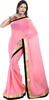 Aruna Sarees Solid Bollywood Chiffon Saree(Pink)