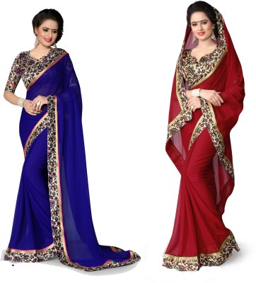 Indianbeauty Plain, Printed Bollywood Chiffon Saree(Pack of 2, Red, Blue) at flipkart
