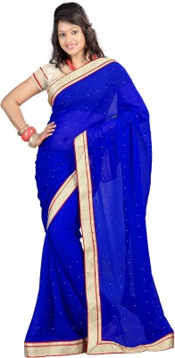 Yehii Solid Fashion Chiffon Sari