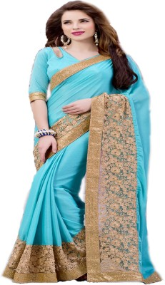 G Creation Embriodered Fashion Satin Sari