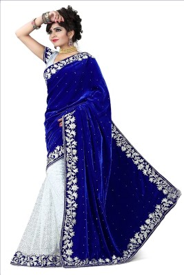 Reya Embroidered Bollywood Handloom Georgette Saree(Blue) at flipkart
