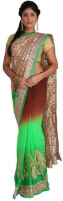 Nav Durga Applique, Embellished Bollywood Art Silk Sari