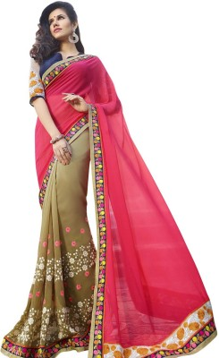Shaily Retails Embroidered Fashion Georgette Saree(Multicolor) at flipkart