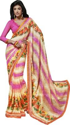 Crafts N Culture Graphic Print Fashion Georgette Sari