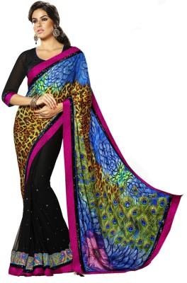 Shoppingover Animal Print Fashion Georgette Sari