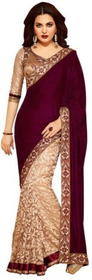 CoreFestival Self Design Fashion Brasso, Velvet Sari