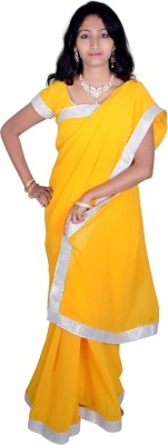Cahah Plain Fashion Synthetic Fabric Sari