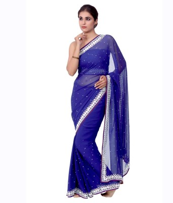 Ellegent Embellished Fashion Georgette Saree(Blue) at flipkart
