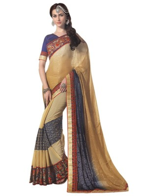 Manvaa Embroidered Fashion Georgette Saree(Multicolor) at flipkart