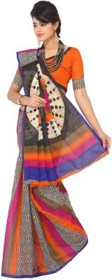 Womantra Geometric Print Bhagalpuri Synthetic Sari