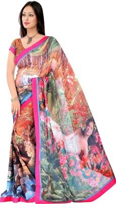 Pbs Prints Graphic Print Daily Wear Georgette Sari