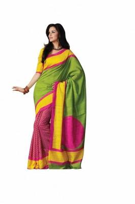Gini Gold Printed Bhagalpuri Raw Silk Sari