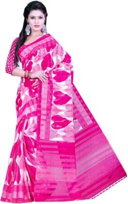 Purple Boat Floral Print Fashion Silk Cotton Blend Sari