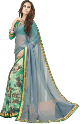 KL COLLECTION Floral Print, Plain Bollywood Chiffon Sari