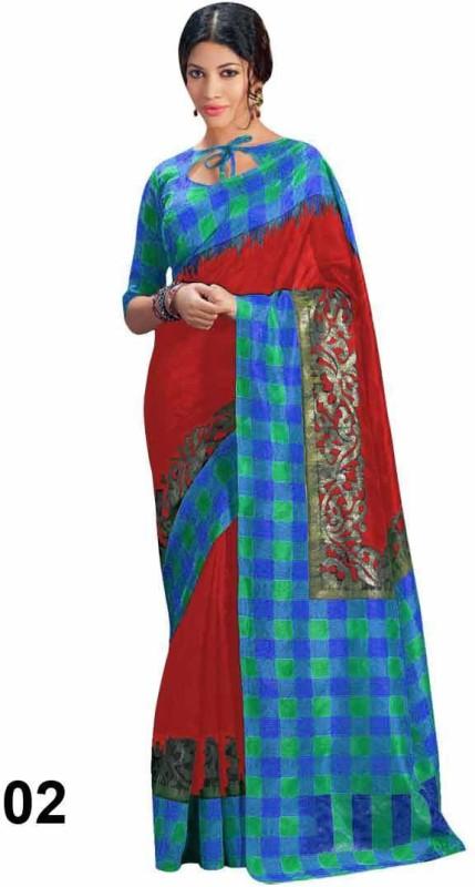 Helixenterprise Printed Bhagalpuri Handloom Silk Saree(Multicolor)