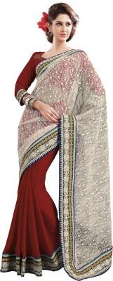 Ridhi Sidhi Self Design, Solid Fashion Chiffon Sari