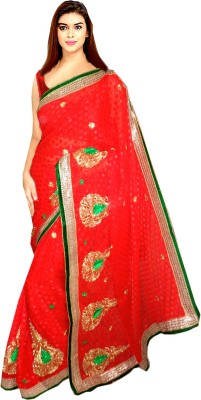 Tyra Sarees Embriodered Fashion Brasso Sari