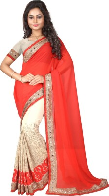 Bunny Sarees Embroidered Bollywood Georgette Saree(Red) at flipkart