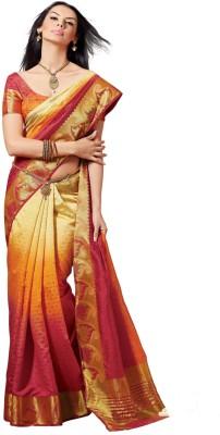 Sudarshan Silks Geometric Print, Self Design Fashion Raw Silk Sari