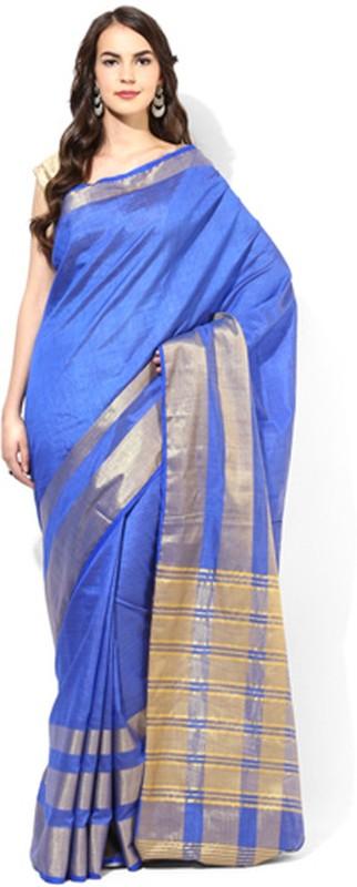 Aryahi Solid Daily Wear Tussar Silk Saree(Blue)