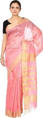 HandiweavesAndPrints Striped Maheshwari Handloom Polycotton Sari