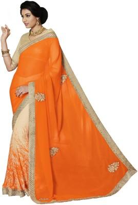 DesiButik Embriodered Fashion Georgette, Chiffon Sari