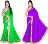 Raag Solid Bollywood Chiffon Saree (Pack...