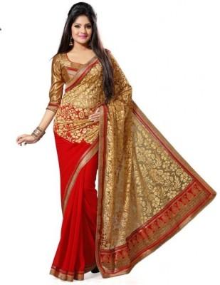 Fabkharidi Self Design Fashion Brasso, Georgette Sari