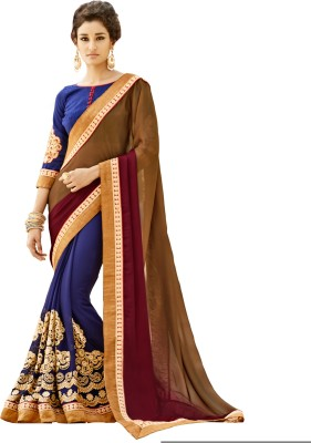 The Ethnic Chic Embriodered Fashion Satin, Georgette Sari