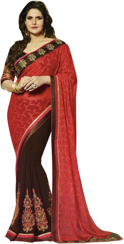Khantil Embroidered Fashion Georgette Saree(Red)