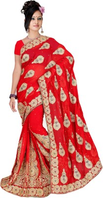 Indianbeauty Embriodered, Embellished Fashion Georgette Sari