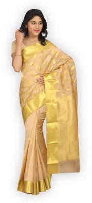 Pavechas Printed Banarasi Banarasi Silk Sari(Beige)