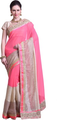 Chirag Sarees Embellished Fashion Synthetic Georgette Sari