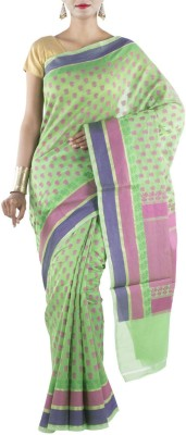 Banarasi Drapes Floral Print Chanderi Cotton Sari