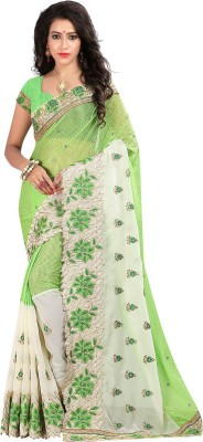 Bunny Sarees Embroidered Bollywood Georgette Saree(Green) at flipkart