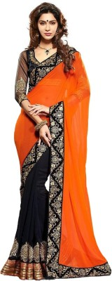Fabaron Enterprise Embriodered, Solid Fashion Pure Georgette Sari