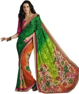 Jhankar Collection Floral Print Bollywood Chiffon Sari