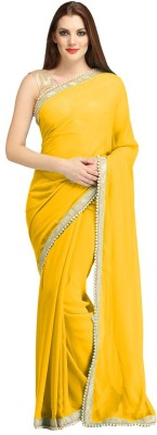 Giriraj Fashion Plain Bollywood Georgette Sari