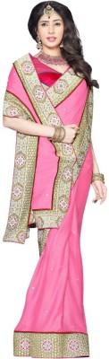 Triveni Self Design Fashion Georgette Sari(Pink) at flipkart