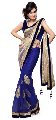 Ramdev Textiles Embriodered, Solid Bollywood Net Sari