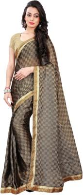 Avsar Prints Self Design, Embriodered, Solid, Woven Bollywood Handloom Brasso Fabric Sari