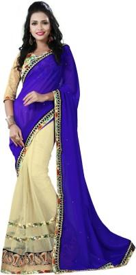 Preet Creations Solid, Embellished, Self Design Fashion Georgette, Net Sari