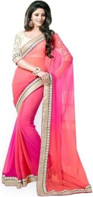 RBGEnterprise Solid Bollywood Georgette Sari