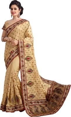 M.S.Retail Embroidered Bollywood Dupion Silk Sari(Gold) at flipkart